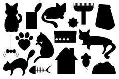 Illustrazione dell'animale domestico del gatto, con cibo per gatti, il giocattolo del gatto, il segno della zampa del gatto ed il Immagini Stock