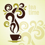 Illustrazione dell'annata di tempo del tè Fotografia Stock Libera da Diritti