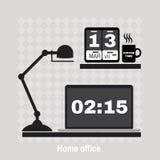 Illustrazione dell'area di lavoro moderna dell'ufficio Stile minimalistic piano Fotografie Stock Libere da Diritti