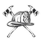 Illustrazione dell'attrezzatura del pompiere - casco con due asce Fotografia Stock