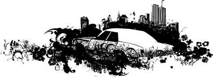 Illustrazione dell'automobile di paesaggio urbano Immagine Stock