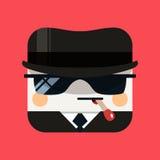 Illustrazione dell'avatar della spia L'emissario d'avanguardia ha quadrato l'icona con le ombre nello stile piano Fotografie Stock Libere da Diritti