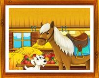 Illustrazione dell'azienda agricola del fumetto con inquadratura facoltativa Fotografia Stock