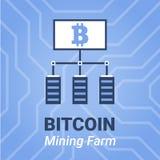 Illustrazione dell'azienda agricola di estrazione mineraria di Bitcoin con il titolo Segno di cryptocurrency di estrazione minera Fotografia Stock
