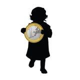 Illustrazione dell'euro di arte della tenuta del bambino Fotografia Stock Libera da Diritti