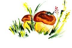 Illustrazione dell'grandi funghi Immagini Stock Libere da Diritti