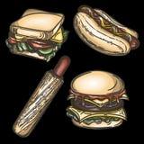 Illustrazione dell'hamburger variopinto, dell'hot dog francese, dell'hot dog classico e del panino isolati su fondo nero illustrazione di stock