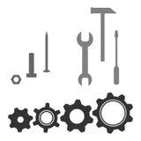 Illustrazione dell'icona degli ingranaggi e degli strumenti per progettazione illustrazione vettoriale