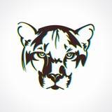 Illustrazione dell'icona del fronte della tigre Immagini Stock