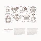 Illustrazione dell'icona dell'ape del miele illustrazione di stock