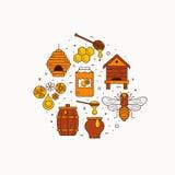 Illustrazione dell'icona dell'ape del miele illustrazione vettoriale