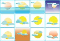 Illustrazione dell'icona di clima del tempo del sole e della nuvola Immagine Stock Libera da Diritti