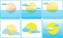 Illustrazione dell'icona di clima del tempo del sole e della nuvola Immagini Stock