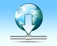 Illustrazione dell'icona di trasferimento dal sistema centrale verso i satelliti Fotografia Stock