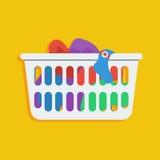 Illustrazione dell'icona di vettore del canestro di lavanderia Immagini Stock Libere da Diritti