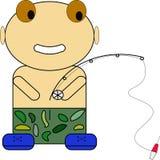 Illustrazione dell'immagine della maglietta della camicia dell'autoadesivo del pescatore illustrazione vettoriale