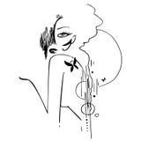 Illustrazione dell'inchiostro della donna seducente Fotografie Stock Libere da Diritti