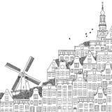 Illustrazione dell'inchiostro di una città olandese Immagini Stock
