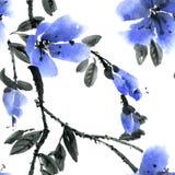 Illustrazione dell'inchiostro e dell'acquerello dell'albero del fiore con il fiore blu Immagini Stock