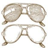 Illustrazione dell'incisione degli occhiali da sole Immagini Stock Libere da Diritti