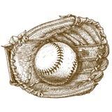 Illustrazione dell'incisione del guanto da baseball e della palla Fotografie Stock Libere da Diritti