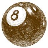 Illustrazione dell'incisione della palla di biliardo Immagini Stock