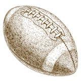 Illustrazione dell'incisione della palla di football americano Fotografie Stock