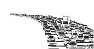 Illustrazione dell'ingorgo stradale di ora di punta sull'autostrada senza pedaggio illustrazione vettoriale