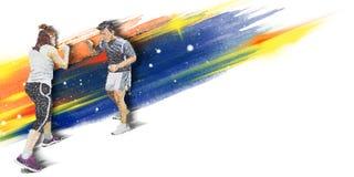 Illustrazione dell'insegna della copertura del fuoco di sport di pugilato illustrazione vettoriale
