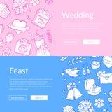 Illustrazione dell'insegna di web degli elementi di nozze di scarabocchio di vettore illustrazione vettoriale