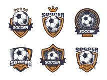Illustrazione dell'insieme di logo di calcio Fotografia Stock