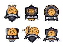 Illustrazione dell'insieme di logo di pallacanestro Fotografie Stock