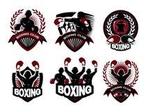 Illustrazione dell'insieme di logo di pugilato Fotografia Stock