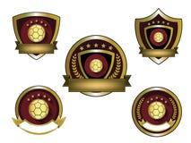 Illustrazione dell'insieme dorato di logo di calcio Fotografia Stock