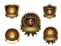 Illustrazione dell'insieme dorato di logo di pallacanestro Fotografie Stock Libere da Diritti