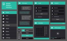 Illustrazione dell'interfaccia piana del cellulare di progettazione Fotografia Stock Libera da Diritti