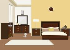 Illustrazione dell'interno della camera da letto con il letto di legno scolpito e comodini Immagini Stock Libere da Diritti