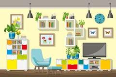 Illustrazione dell'interno di un salone moderno Immagini Stock Libere da Diritti