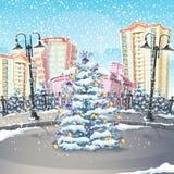 Illustrazione dell'inverno con un albero di Natale Fotografie Stock