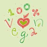 illustrazione dell'iscrizione della mano del vegano di 100 per cento Fotografie Stock Libere da Diritti