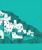 Illustrazione dell'isola di Santorini, Grecia Fotografie Stock Libere da Diritti