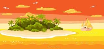 Illustrazione dell'isola tropicale in oceano Abbellisca con l'oceano, le palme e l'yacht Priorità bassa di corsa Immagine Stock