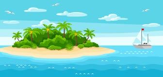 Illustrazione dell'isola tropicale in oceano Abbellisca con l'oceano, le palme e l'yacht Priorità bassa di corsa Fotografia Stock Libera da Diritti