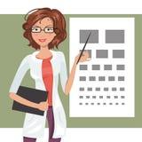 Illustrazione dell'oftalmologo della ragazza del fumetto Illustrazione Vettoriale
