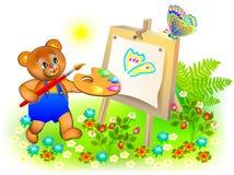 Illustrazione dell'orsacchiotto felice che dipinge l'immagine royalty illustrazione gratis