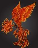 Illustrazione dell'uccello del fuoco di Phoenix e progettazione di carattere Tatuaggio disegnato a mano di Phoenix Fotografie Stock