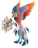 Illustrazione dell'uccello del fuoco di Phoenix e progettazione di carattere Tatuaggio disegnato a mano di Phoenix Fotografie Stock Libere da Diritti
