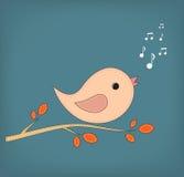 Illustrazione dell'uccello divertente del fumetto sul ramo Fotografie Stock Libere da Diritti