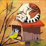Illustrazione dell'uccello e del gatto Fotografia Stock