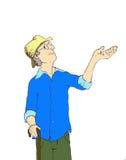 Illustrazione dell'uomo anziano che ritiene la pioggia Immagine Stock Libera da Diritti